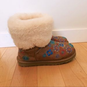 UGG Embroidered Floral Shearling Cuff Boots